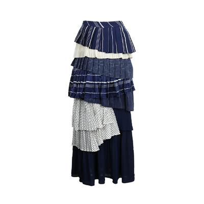 colorful pleats tiered skirt